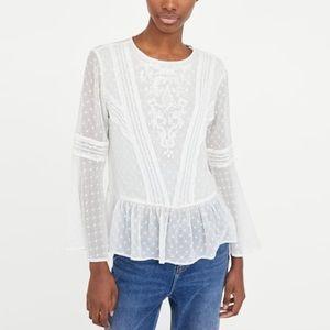 Zara Clip dot blouse NWOT